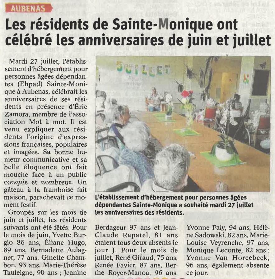 Article Dauphiné EHPAD Sainte Monique